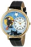 ハロウィン 魔法使い 黒レザー ゴールドフレーム時計 #G1220001