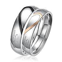 新型アクセサリー ハートパズルステンレスカップルの指輪 バレンタインデーのプレゼント 男性の指輪