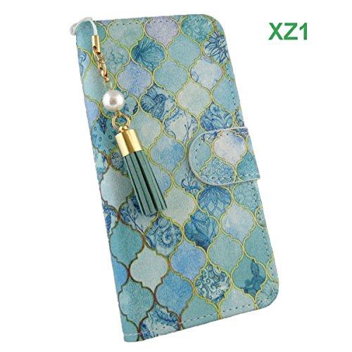 XPERIA XZ1 ケース 手帳型 / 緑の鳥柄の手帳ケー...