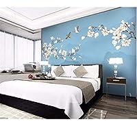 Weaeo モダンマグノリアの花の壁紙3D壁紙のロール紙の寝室の壁のインテリア花のプリント写真壁画のカスタムサイズ-150X120Cm