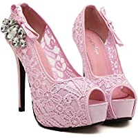 Fashion Wedding Heels (Color : Pink, Size : 36)