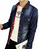 (メイク トゥ ビー) Make 2 Be メンズ ヴィンテージ加工 デニム シャツ 長袖 KB05 (XXLサイズ)