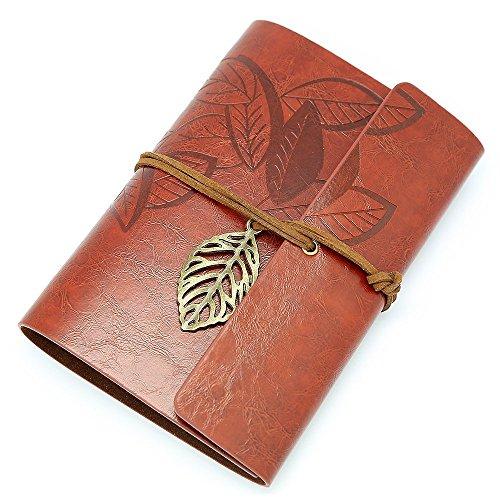 COCO BABY 木の葉 模様 ノート 牛本革レザー B6 サイズ ベルト付き 手帳 日記帳 アンティーク 聖書 (ブラウン)