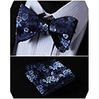 Wedding Bow Ties for Men [ By HISDERN ] Flower Printed Bowtie & Handkerchief Set Luxury Silk Bowties for Formal & Casucal & Business Adjustable Length for Lady and Boys