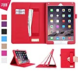 iPad Air2 ケース アイパッド エアー2 ケース,Fyy [豪華高品質 全面保護] PUレザーケース 高品質 スリムケース カード収納/タッチペンホルダー/ 伸縮性ハンドストラップ付/ スタンド機能付き/ マグネット開閉式 レッド