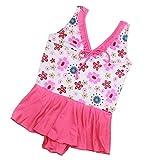 MAMiO 子供 女の子 水着 花柄 フリル ワンピース スイムウェア (120cm, ピンク)