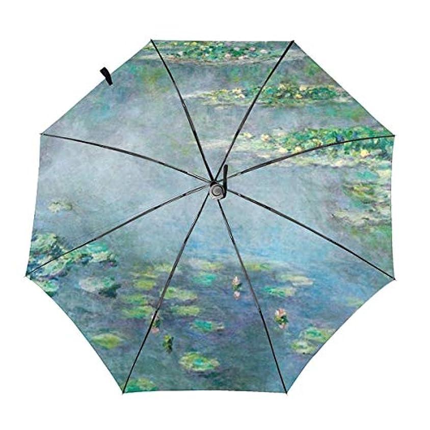 買収不平を言う定期的モネの睡蓮 折りたたみ傘 日傘 ワンタッチ自動開閉 折り畳み 丈夫な8本骨 3段式 撥水 耐風 晴雨兼用 梅雨対策 UVカット 遮光遮熱 傘袋/収納ポーチ付き