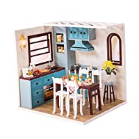 Toygogo 1/24スケール 人形ハウス ミニキッチン ダイニングルーム 木製 家具付き 組み立て DIYキット おもちゃ