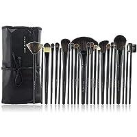Afunti化粧ブラシ化粧品プロフェッショナルエッセンシャル24ピースメイクアップブラシセットキット付きトラベルケース(ブラック)