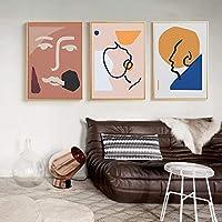 抽象図アウトラインキャンバス絵画ポスタープリントウォールアート写真用キッズルーム寝室家の装飾-40×60センチ×3ピースフレームなし