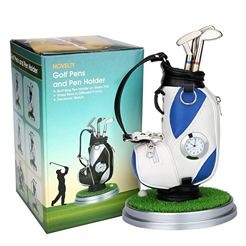 10L0Lミニデスクトップアルミ合金ゴルフバッグペンホルダーゴルフピンクの時計ゴルフ贈り物の6件セットギフ...