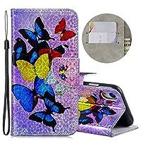 Retro 電話ケース、iPhone XR用ホルダー&カードスロット&財布&ストラップ付きダズル色の描画水平フリップレザーケース、危害からあなたの電話を保護 - MYPU079 (パターン : Seven butterflies)