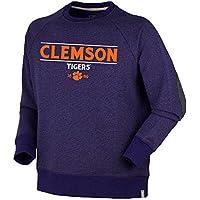 NCAA Clemson Tigersユニセックスオックスフォードクルーネックナンタケット島フリースセーター、パープル、XS