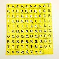 matoen 100pc /設定木製ScrabbleタイルブラックLetters Numbers for Crafts木製Alphabetsゲーム free size Matoen