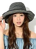 ブラック F (ディーループ)D-LOOP 紫外線 UV 対策 デニム リボン 付き ブレードハット 折りたたみ ワイヤー入りアレンジ自在 小顔効果 女優帽 レディース つば広 日よけ かわいい おしゃれ 日除け つばひろ ペーパーハット カンカン帽 ストローハット 麦わら 帽子 ぼうし つば広帽子 122160-010-001
