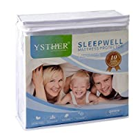 (King) - YSTHER Hypoallergenic Waterproof Mattress Protector - Vinyl Free - Fitted Cotton Terry Cover,King Size