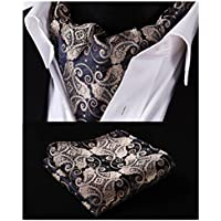 HISDERN Formal Silk Cravat Luxury Ascot Ties for Men Paisley Floral Jacquard Woven Neckerchief Tie and Pocket Square Set