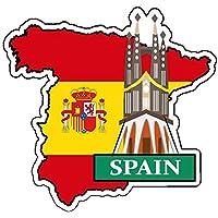 ステッカー スペイン ナショナルフラッグ&マップシリーズ 国旗地図 防水紙シール スーツケース・タブレットPC・スケボー・マイカーのドレスアップ・カスタマイズに