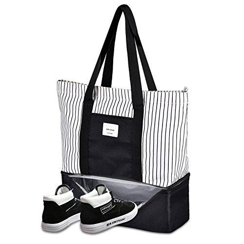 トートバッグ 大容量 マザーズバッグ 靴収納 飲み物収納 ショルダーバッグ 手提げ袋 底部に保温 保冷可能 スーパー 旅行 ジム ピクニック などに最適 Yunimo (黒)