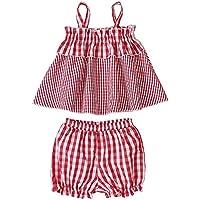 Camidy Kids Baby Girl Set Plaid Sleeveless Top Shirt+Bloomer Short Pants Clothes Suit