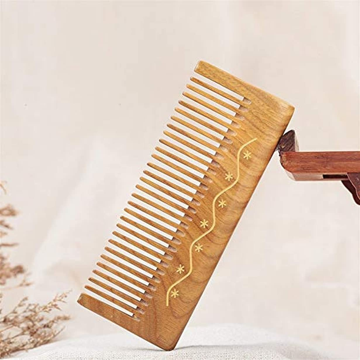 優しさリングレットしつけGuomao グリーンサンダルウッドコームナチュラルサンダルウッド木製コーム肥厚ジェイドサンダルウッドコーム (Size : 12.5*4.6*1 cm)