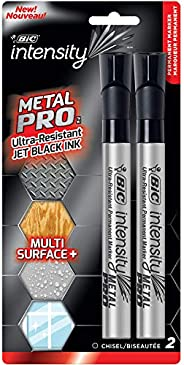 BIC Intensity Permanent Metal Pro Marker - Pack of 2 Markers – Chisel Tip, Fade and Water Resistant, Quick Dry