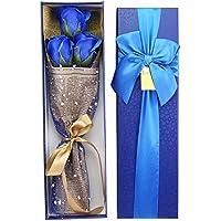 ソープフラワー 造花 クリスマス 誕生日 父の日 母の日 記念日 送迎 など お祝い プレゼント 花3本 メッセージカード付き 入浴剤としても使える (ブルーだけ)