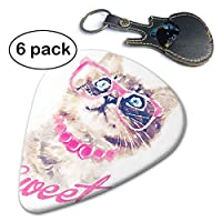 猫 メガネ かわいい ギターピック トライアングル 高品質セルロイド それぞれ厚さ カラフル 多種多色 ピック×6枚