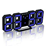Deerbird® 3D LEDデジタル目覚まし時計、3つの輝度レベルが調整可能で スヌーズ機能デスク掛け時計ホームルームオフィス用壁掛け時計、黒/青