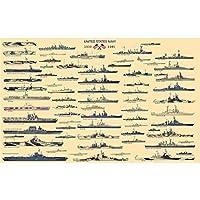 meisheアートポスター印刷US Navy Battleship Usa Warship United States of America ww2ミリタリーコレクションホームオフィス壁装飾 34.65'' x 21.65'' AMAHL1508855