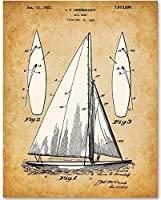Sail Boat - 11x14 Unframed Patent Print - Great Gift for Sailing Enthusiasts and Beach House or Lake House Decor [並行輸入品]