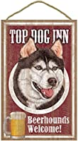 TOP DOG INN サインボード:シベリアンハスキー ビール好きバー看板 ウッドボード製 BEER BAR MADE IN U.S.A [並行輸入品]