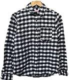 レディースフランネルシャツ (M, WHITE/BLACK)