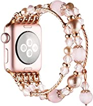 Simpeak Bands for Apple Watch 38MM Series 3 & 2 & 1 All Editions,Women Jewelry Band Crystal Diamond Un