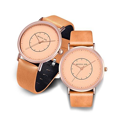カップル腕時計 彼と彼女の記念日の贈り物 ペアウォッチ 30M防水 クラシック クォーツ アナログ ローズゴー...