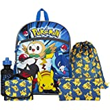 """Pokemon Blue and Yellow 16"""" Backpack Back to School Essentials Set"""