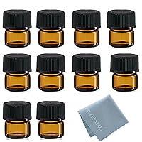 simple-e 50pcs 1ml (1/4Dram) Amberミニガラスボトル1CC AmberサンプルVial Small Essential Oilボトル旅行必要+ 1pcガラスクリーン布
