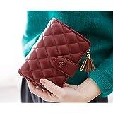 6 色 レディース 女の子 財布 二つ折り 小銭入れ 高級 レザー キルティング ケース (レッド)