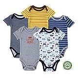 (マザーネスト) Mother Nest カバーオール 新生児から ロンパース 赤ちゃん 綿100% 半袖 Baby ボディースーツ 5枚セット ベビー服 Bodysuit BBT011-9M