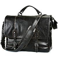"""Black Leather Messenger Bag,Mens Business Leather Messenger Bag 15.6"""" Leather Laptop Bag,Leather Work Bags for Men"""