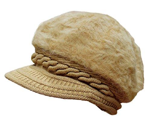 Plus Nao (Purasunao) fluffy fur knit hat knit cap Newsboy ladies hat hat autumn and winter simple plain grandmother Obaa tea