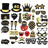 BESTOYARD 35個40歳の誕生日の写真ブースのプロップセット誕生日の装飾のための創造的な装飾のプロップセット(40歳のパターン)