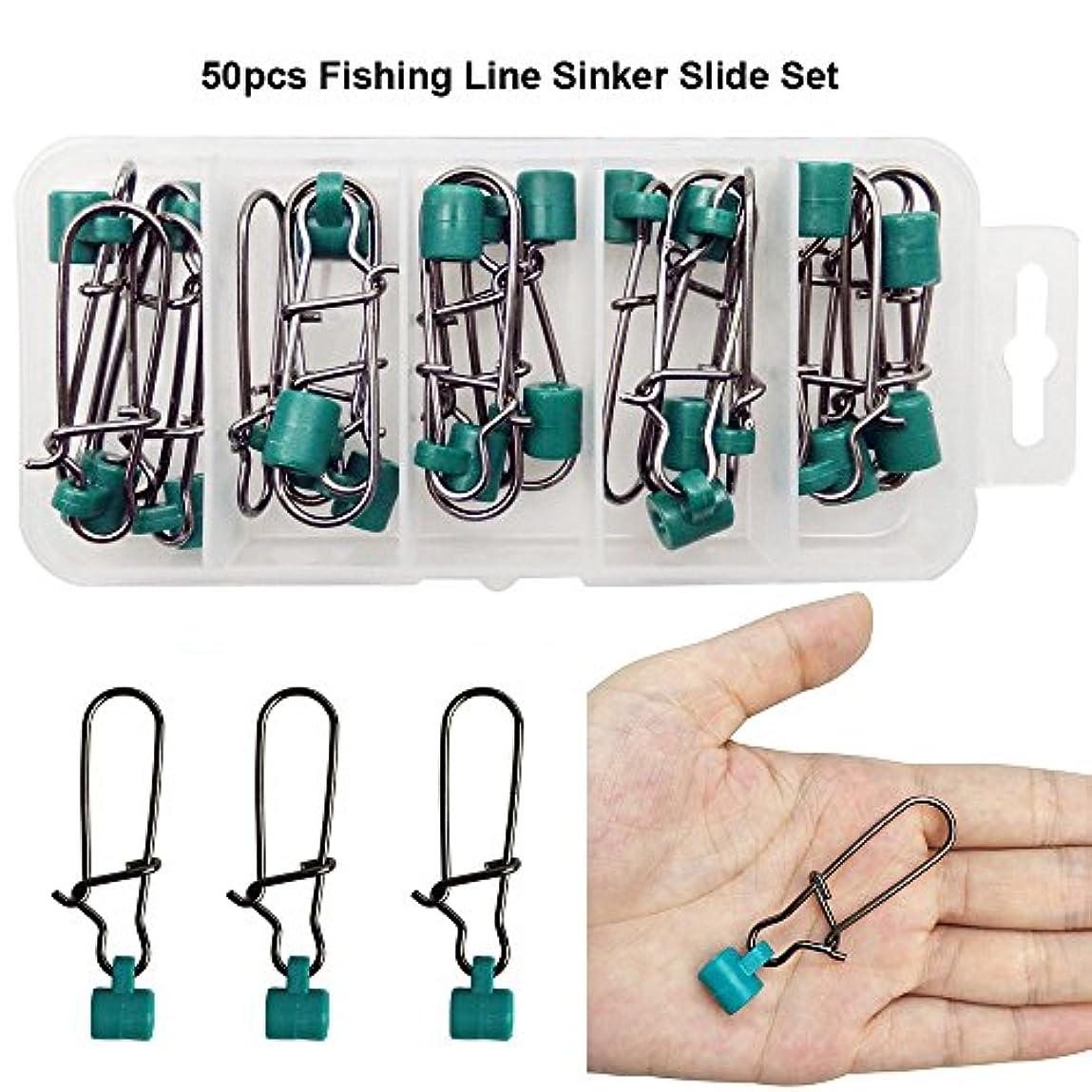RG 50個/ボックス頑丈な強力なグリーン釣りラインシンカースライドwith高強度ステンレススチールNiceスナップ釣りSinker Slidersタックルボックスセット – テスト: 220lb
