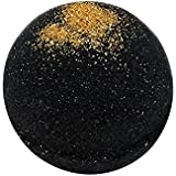 Black Bath Bomb with Gold Glitter - Large Bath Bomb 7.5oz - Anti-Aging - Epsom Salts - Coconut Oil - Kaolin Clay - Skin Moist