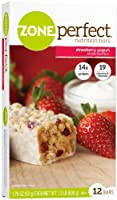 Zone Perfect All Natural Nutrition Bar, Strawberry Yogurt, 1.76-Ounce Bars in 12-Count Boxes (Pack of 2) by Zone Perfect
