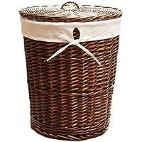 籐のランドリーバスケットラウンド綿の三角のライニングの汚れたハンパーの服の雑貨屋内の収納バスケット (色 : Brown, サイズ さいず : 31 * 32cm)