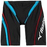 MIZUNO(ミズノ) レース用競泳水着 メンズ ストリームアクティバ ハーフスパッツ FINA承認 N2MB604292 サイズ:L ブラック×ターコイズ