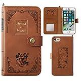 iPhone7 ケース 手帳型 カバー ディズニー カード収納 鏡 ストラップホール付き / ミッキーマウス / ミニーマウス