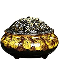 Chinashow セラミック 香 バーナー 香 スティック ホルダー コーン バーナー 磁器 香 ホルダー ホーム 脱落 可変 釉薬 イェロー