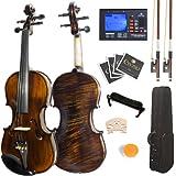 Mendini 4/4 MV500+92D Flamed 1-Piece Back Solid Wood Violin with Case, Tuner, Shoulder Rest, Bow, Rosin, Bridge and Strings -